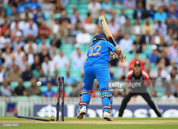 Parthiv Patel of India is bowled out during the 3rd Natwest One Day International match between England and India at The Kia Oval on September 9 2011...