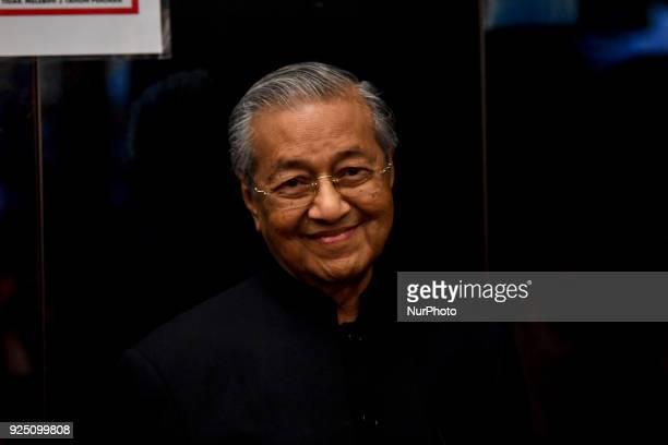 Parti Pribumi Bersatu Malaysia Chairman Tun Dr Mahathir Mohamad arrived at the Civil High Court in Kuala Lumpur, Malaysia, on 27 February 2018 to...