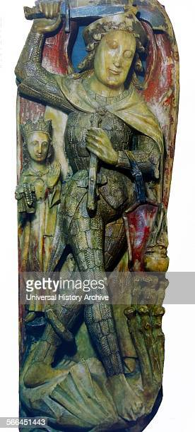 Partial alabaster carving representing St Michael weighing souls with the Virgin using her rosary to help tilt the scales Dated 15th Century