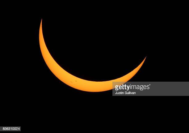 A partial eclipse is seen from South Mike Sedar Park on August 21 2017 in Casper Wyoming Millions of people have flocked to areas of the US that are...