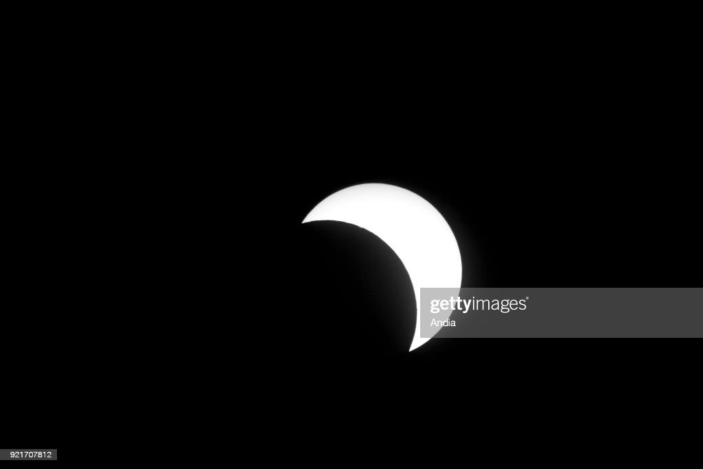 Partial eclipse of the sun over the city of Strasbourg at about 11.00 am on March 20, 2015.