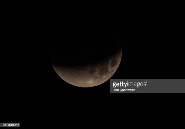 Partial eclipse of the Super Blood Moon on Tuesday January 31 2018 from the East Bay Area Union City California