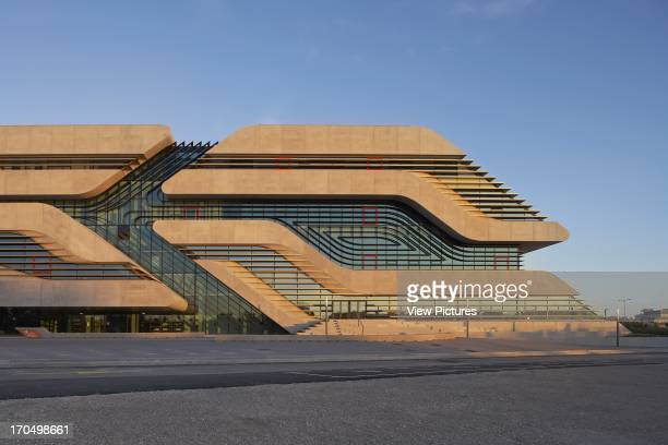 Partial exterior elevation with finned glass intersections Pierresvives Building Montpellier France Architect Zaha Hadid Architects 2012