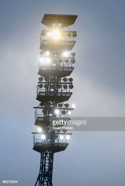 A partial floodlight failure during the Bundesliga match between Hansa Rostock and Arminia Bielefeld at the DKB Arena on March 01 2008 in Rostock...