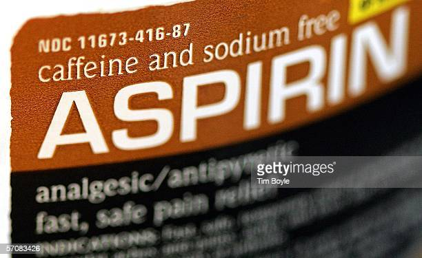 A partial label from a generic bottle of aspirin is seen March 14 2006 in Des Plaines Illinois A new study reportedly states that there may risks in...