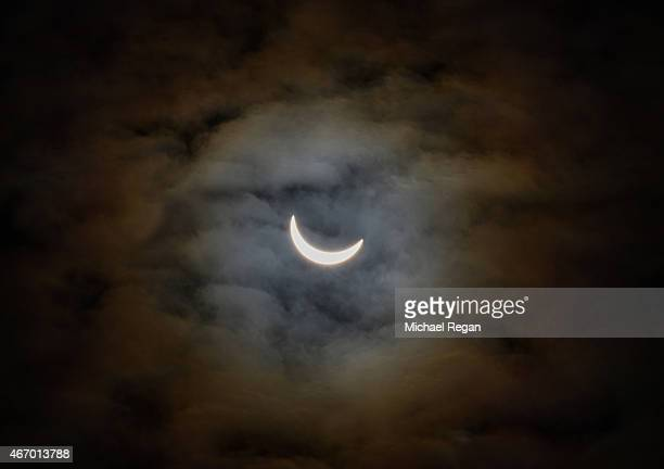 A partial solar eclipse is seen on March 20 2015 in Leicestershire England Over Central Europe the moon was scheduled to cover approximately 75% of...