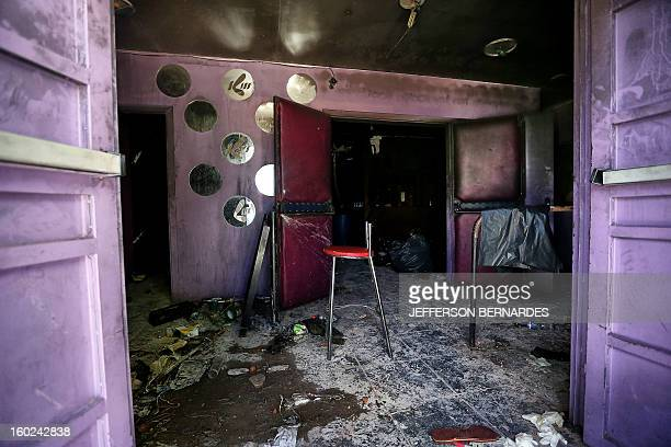 Partial view at the entrance to the Kiss nightclub where a blaze on the eve killed more than 230 people on January 28 2013 in Santa Maria southern...