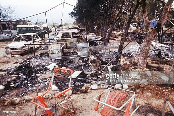 Partial view dated 12 July 1978 of Los Alfaques campsite devastated at 03 pm 11 July 1978 by a propane gas explosion after a truck loaded with 43...