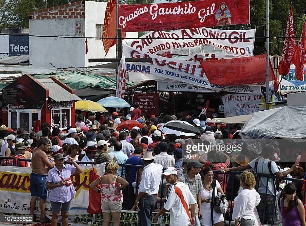 Partial view of a line of pilgrims waiting to visit Gauchito Gil's sanctuary near Mercedes in the Argentine province of Corrientes on January 8 2011...
