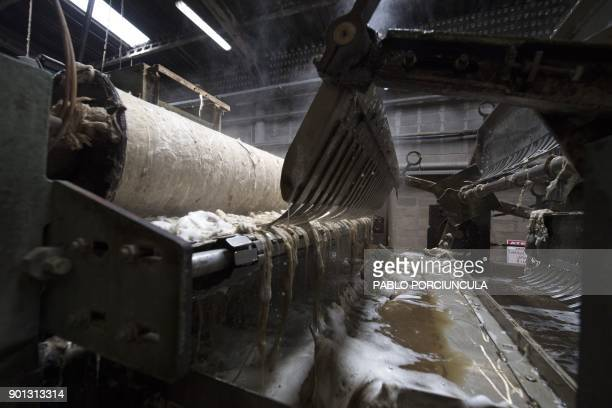Partial view of a machine to wash wool at Tops Fray Marcos factory in Libertad San Jose 90km west from Montevideo on December 1 2017 Located between...