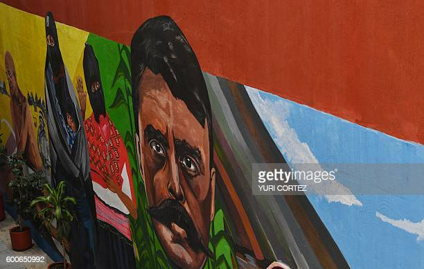 Partial view of a mural painted at the Miguel Agustin Pro Juarez Human Rights Centre in Mexico City showing Mexican revolutionary leader Emiliano...