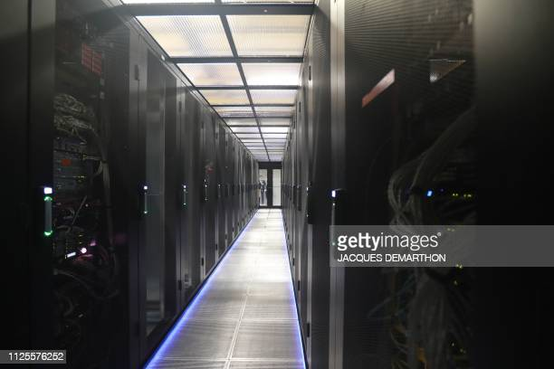 A partial view of a server room at the Equinix Paris data centre called PA8 Equinix's first International Business Exchange in the northern Parisian...