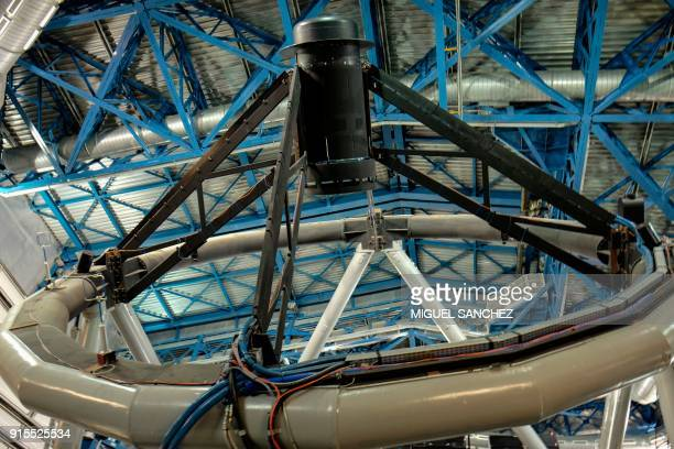 Partial view of a telescope at the Paranal Observatory some 1150 km north of Santiago Chile on February 6 2018 With the installation of planethunter...