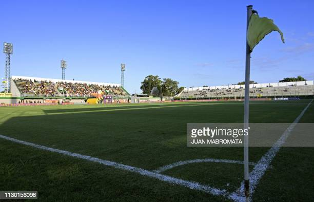 Partial view of Argentina's Defensa y Justicia 'Norberto Tomaghello' stadium before the Argentine Superliga football match against Argentinos Juniors...