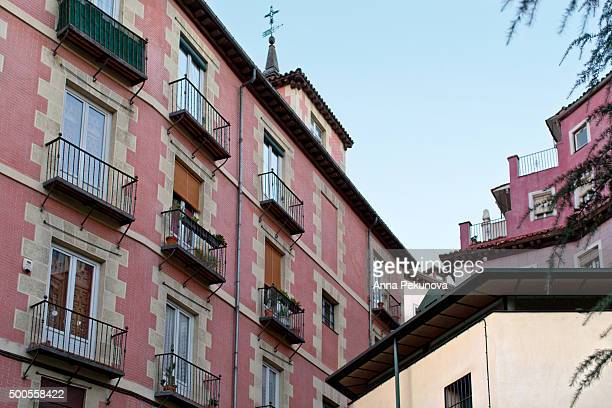 Partial view of buildings situated in the historical centre of Madrid