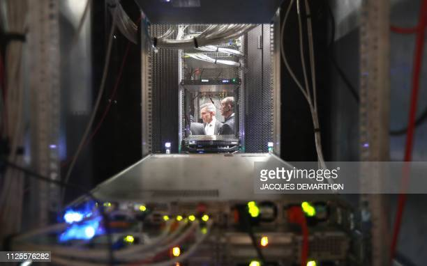 A partial view of cabinets in a server room during a visit by the French Economy Minister for the inauguration at the Equinix Paris data centre...