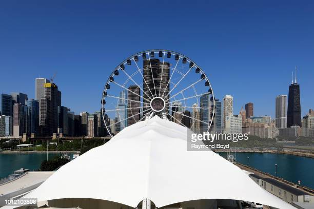 Partial view of Chicago Skyline photographed from Navy Pier in Chicago Illinois on July 30 2018