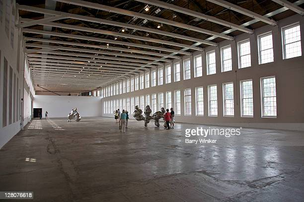 partial view of exhibition of the work of simon starling called the nanjing particles at mass moca, massachusetts museum of contemporary art, north adams, the berkshires, massachusetts - museum of contemporary art stock pictures, royalty-free photos & images