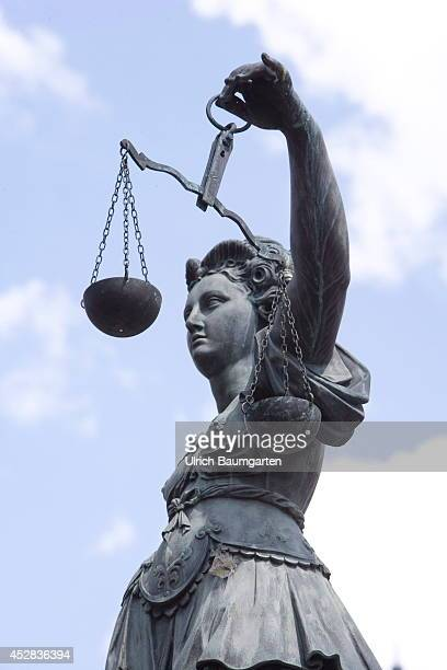 Partial view of Lady Justice at the Frankfurt Römer on July 24 2014 in Frankfurt Germany