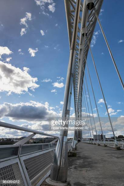 Partial view of Lusitania bridge. Modern steel suspension road bridge over the River Guadiana, Merida, Badajoz, Spain