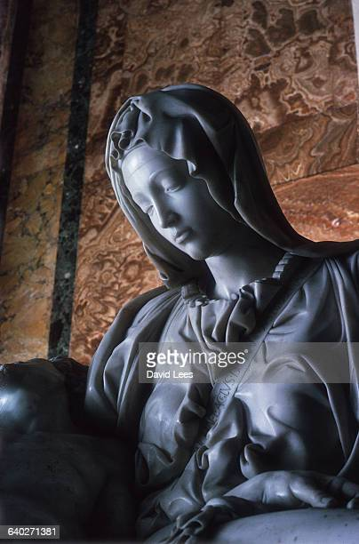 Partial view of Michelangelo's Pieta from St Peter's Rome The work was commissioned in 1497 and completed at the turn of the century | Detail of...