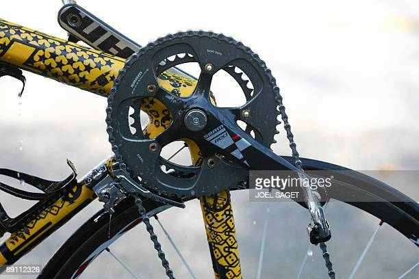 Partial view of one of the bikes of seventime Tour de France winner and Kazakh cycling team Astana 's Lance Armstrong of the United States designed...