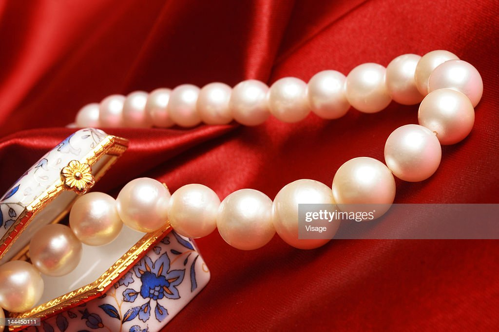 Partial View Of Pearl Necklace And Jewelery Box On A Satin Cloth ...