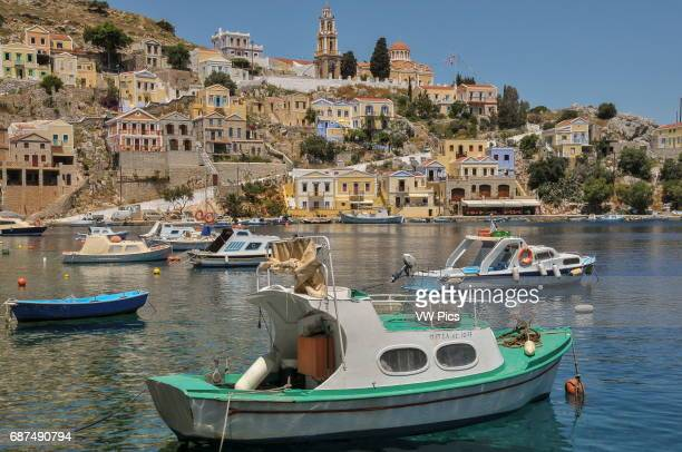Partial view of Symi Town and its harbour on the island of Symi part of the Dodecanese island chain