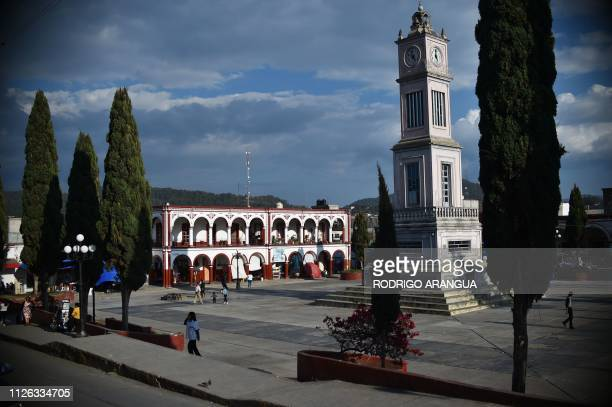 Partial view of the Central Park of the city in Tlaxiaco Oaxaca State hometown to Mexican actress Yalitza Aparicio on February 14 2019 Aparicio who...