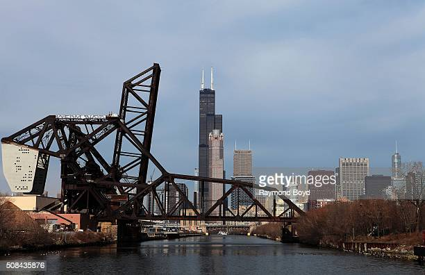 Partial view of the Chicago Skyline as photographed from the South branch of the Chicago River on January 30 2016 in Chicago Illinois