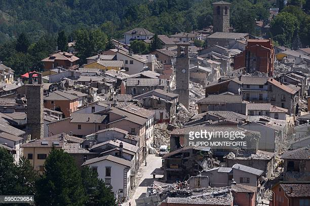 TOPSHOT Partial view of the damaged central Italian village of Amatrice taken on August 25 a day after a 62magnitude earthquake struck the region...