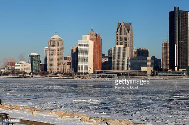 Partial view of the Detroit Skyline as photographed from Windsor, Ontario, Canada on February 28, 2015 in Windsor, Ontario, Canada.