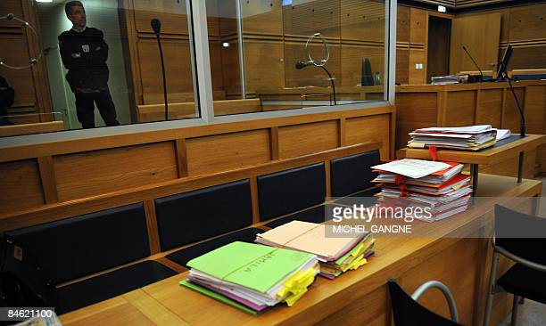 Partial view of the files taken on February 4 2009 at AixenProvence's courtouse southern France prior the opening of the trial in appeal of Mohamed...