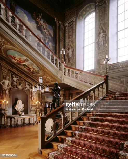 Partial view of the Grand Staircase, showing Laguerre murals at Petworth House, West Sussex