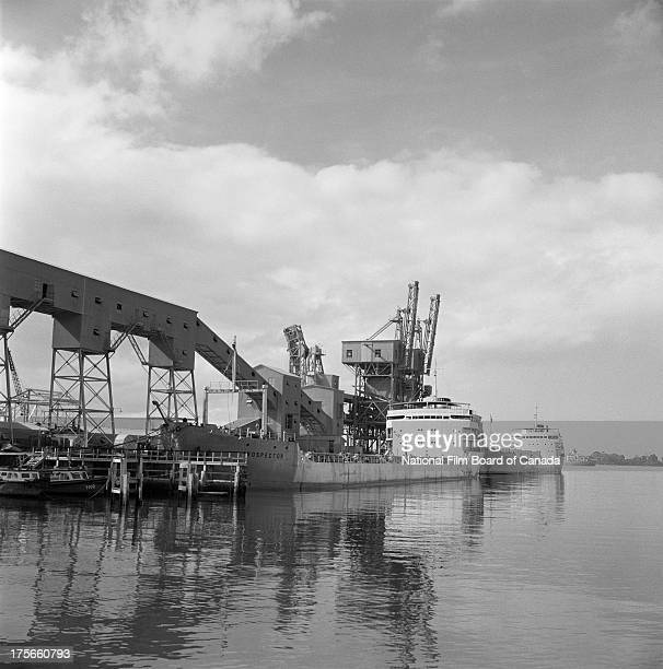 Partial view of the harbour in Port of Spain, Trinidad, Trinidad and Tobago, August 1956. Photo taken during the National Film Board of Canada's...