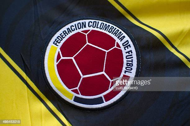 Partial view of the jersey of Colombia's national football team sold at a street stall as souvenir on June 3 in Cali Valle del Cauca department...
