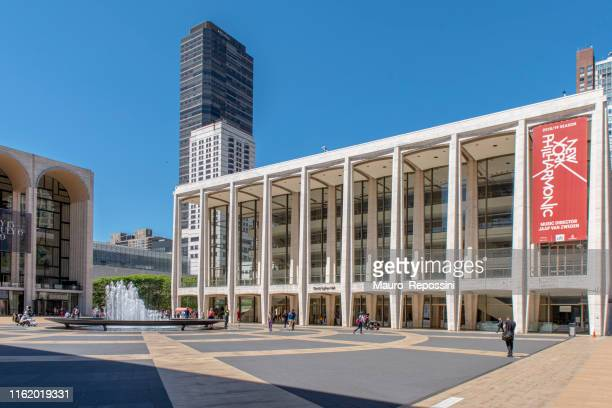 partial view of the lincoln center at upper west side manhattan, new york city, usa - the theater lincoln center stock pictures, royalty-free photos & images