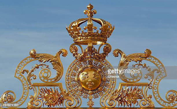 A partial view of the main facade and golden doors of the chateau de Versailles chateau on October 30 2015 in Versailles France The world premiere of...