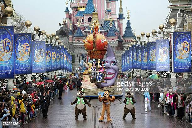 Partial view of the parade during the celebrations marking the 15th anniversary of the US theme park Disneyland Paris in Marne-la-Valle, east of...