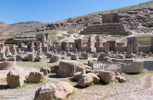 partial view of the persepolis ruins, shiraz , iran - mesopotamian stock photos and pictures