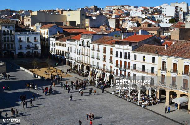 Partial view of the Plaza Mayor with part of the city to the fund from the Torre de Bujaco old monumental city of Caceres Unesco World Heritage Site...