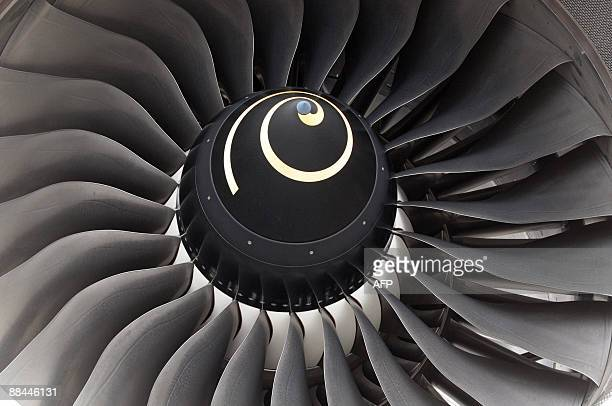 Partial view of the Singapore Airlines A380 engine after the plane landed at Roissy Charles de Gaulle airport near Paris early on June 12 2009 The...