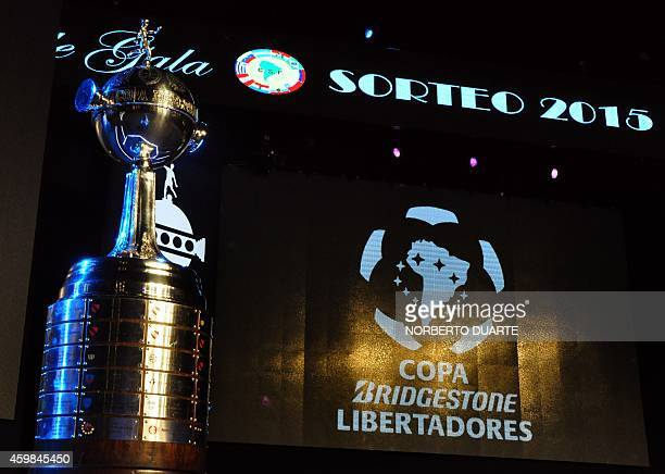 Partial view of the stage and the Copa Libertadores trophy just before the start of the Copa Libertadores draw at the Conmebol headquarters on...