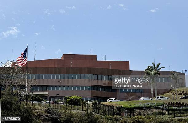 Partial view of the US Embassy in Caracas on March 10 2015 Venezuelan President Nicolas Maduro was set to request special legislative powers to...