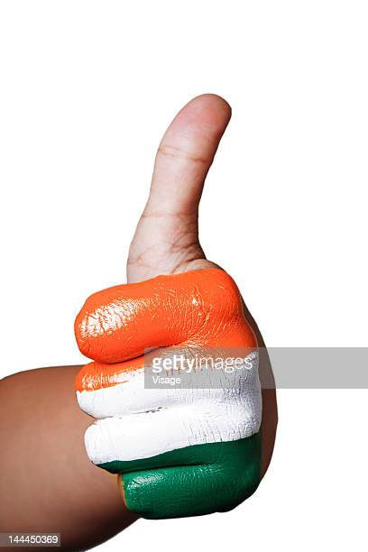 Partial view of tri coloured hand