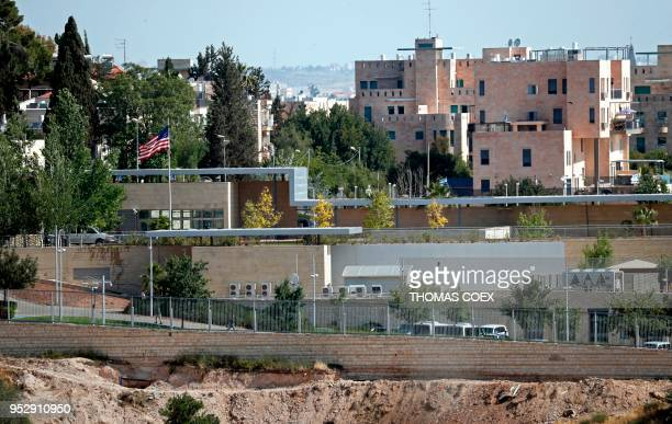 Partial view taken on April 30, 2018 shows the US consulate situated in the no man's land between West and East Jerusalem, which will be used as a...