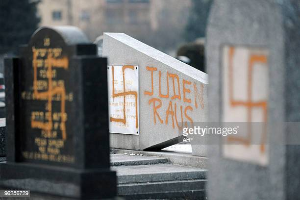 Partial view taken on January 27 2010 in Strasbourg eastern France of swastikas painted on some tombs in the Jewish Cronenbourg cemetery probably the...