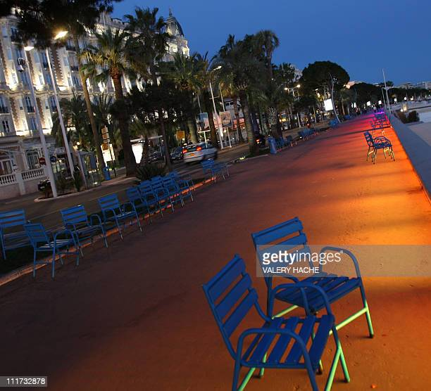 A partial view taken on March 17 2009 in Cannes southeastern France shows the 'Croisette' at night two months prior to the 62nd Cannes international...