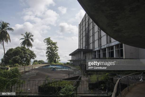 A partial view taken on September 27 2017 shows the Ducor International hotel situated at Ducor Hill in Monrovia Liberia The hotel was built in 1960...
