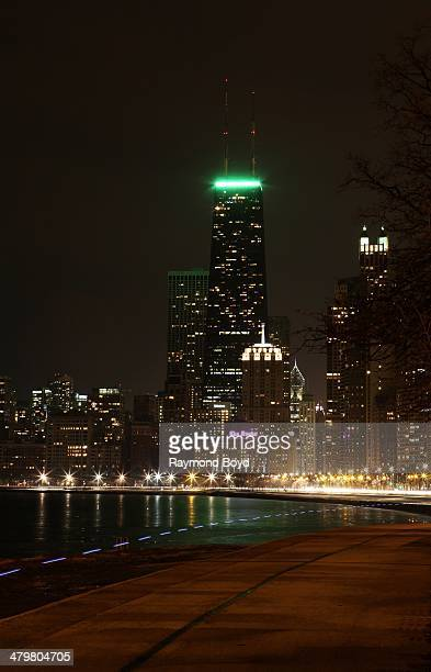 Partial views of downtown Chicago and North Michigan Avenue skyline, as photographed from North Avenue Beach in Chicago, Illinois on MARCH 10, 2014.